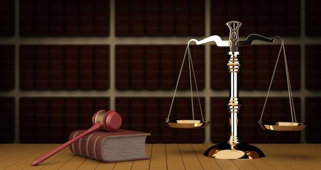 Juzgue el mazo y la escala en la corte. biblioteca con muchos libros en segundo plano, ilustración 3d