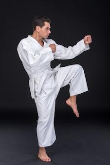 Karate luchador profesional pateando.