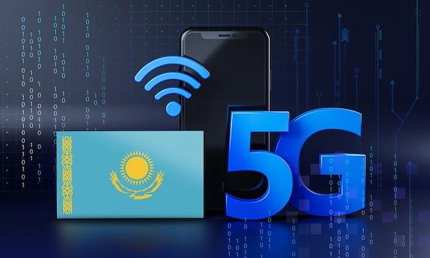 Kazajstán listo para el concepto de conexión 5g. fondo de tecnología de teléfono inteligente de renderizado 3d