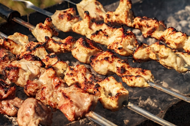 Kebabs a la parrilla de humo