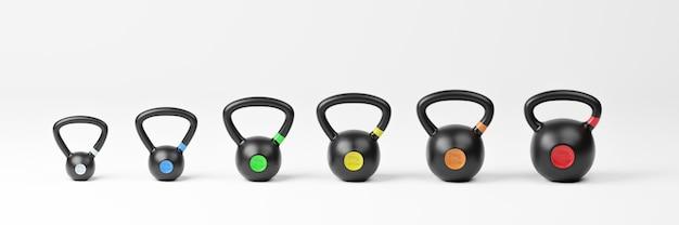 Kettlebells con diferentes tamaños. ilustración 3d