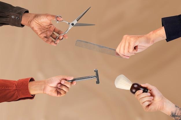 Kit de peluquería para hombres, trabajos de peluquería y campaña profesional.