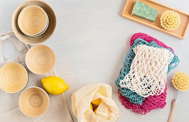 Kit zero waste juego de cubiertos de bambú ecológicos, bolsa de malla de algodón