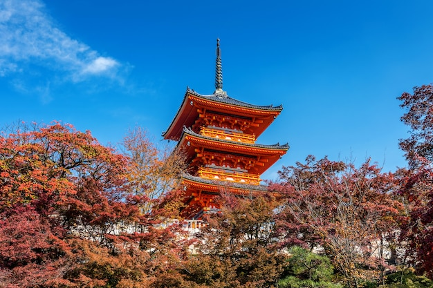 Kiyomizu-dera en otoño, kyoto en japón.