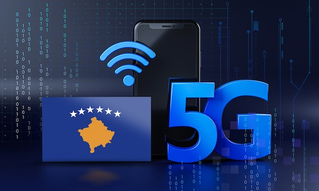 Kosovo listo para el concepto de conexión 5g. fondo de tecnología de teléfono inteligente de renderizado 3d