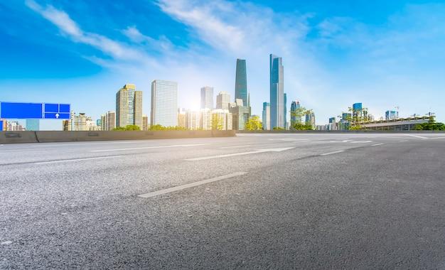 La carretera de asfalto vacía se construye a lo largo de modernos edificios comerciales en las ciudades de china.