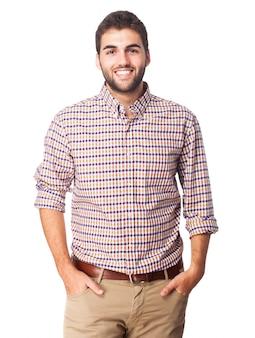 La felicidad del hombre retro del seguro de la camisa