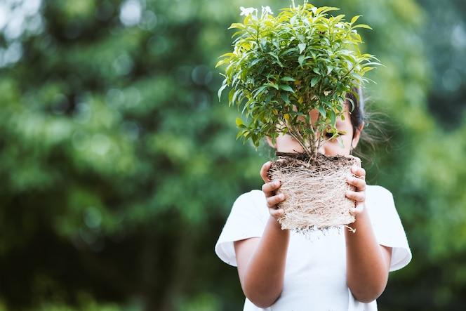 La muchacha asiática del niño que sostiene el árbol joven para prepara el establecimiento en suelo como ahorra el concepto del mundo