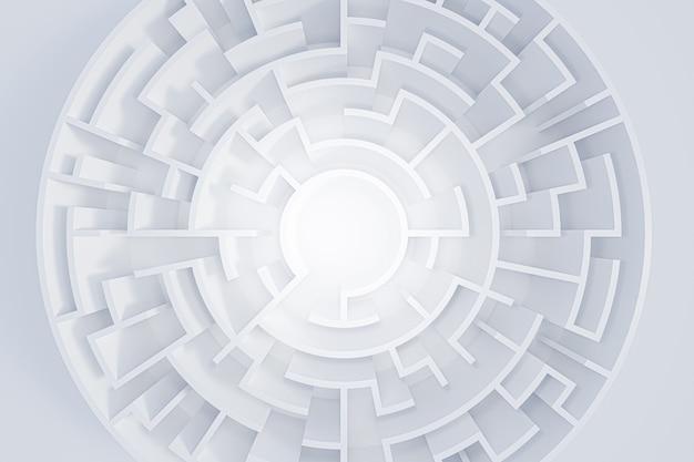 Laberinto circular de representación 3d en la vista superior en blanco