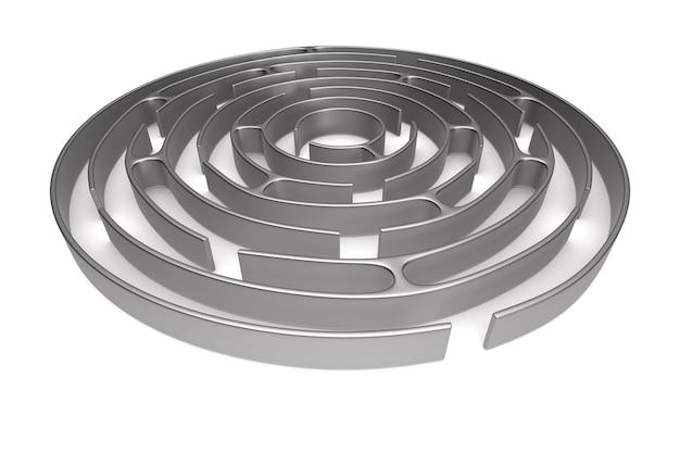 Laberinto circular sobre fondo blanco. ilustración 3d aislada