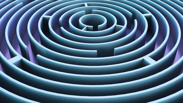 Laberinto circular. tema azul. fondo abstracto
