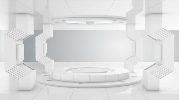 Laboratorio de túnel de construcción 3d futurista blanco