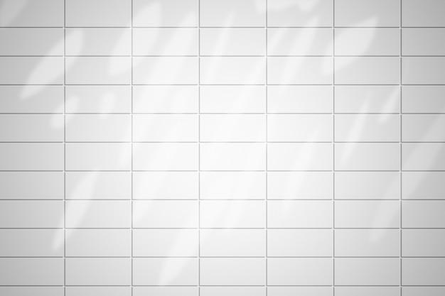 Ladrillo de pared blanca con sombra de hojas