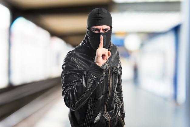 Ladrón, hacer, silencio, gesto