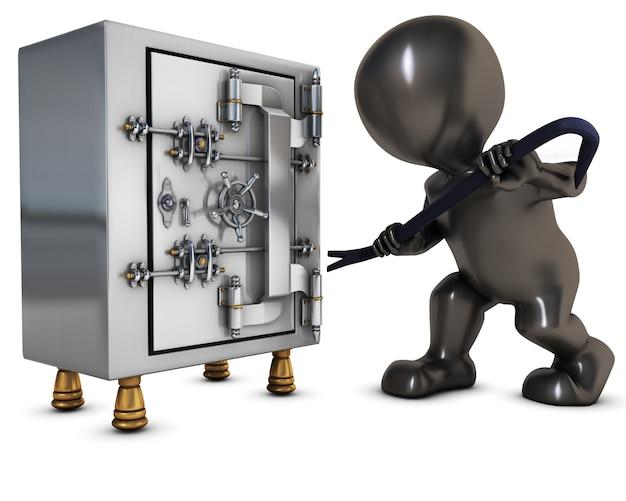 Ladrón intentando abrir una caja fuerte