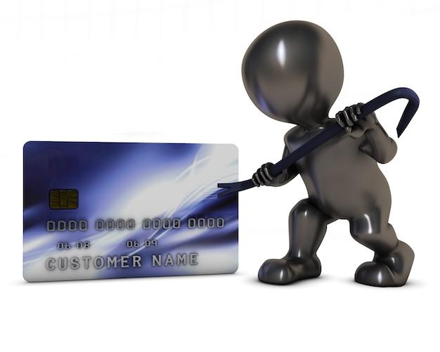 Ladrón intentando robar una tarjeta de crédito