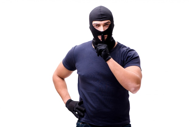 Ladrón con pasamontañas aislado en blanco