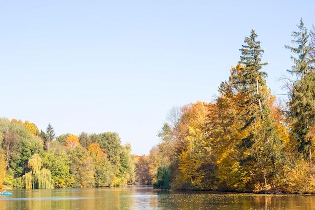 Lago y árboles en el parque otoño