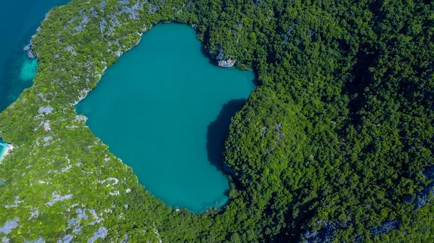 Lago esmeralda o talay nai en la isla de koh mae koh, mar de la naturaleza hermosa en medio de la montaña, ecosistema y ambiente sano, parque nacional de mu ko ang thong, samui, surat thani, tailandia.