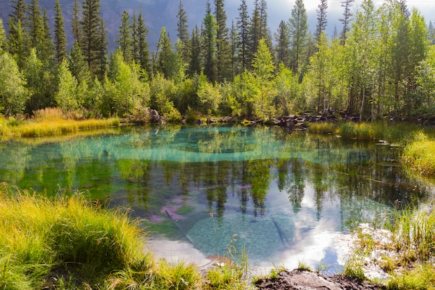El lago termal verde