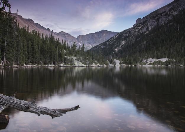 Lago tranquilo con árboles y montañas