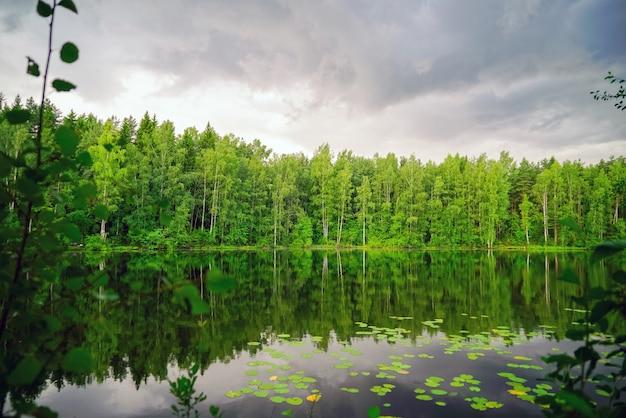 Lago tranquilo con cielo sombrío antes de la lluvia.