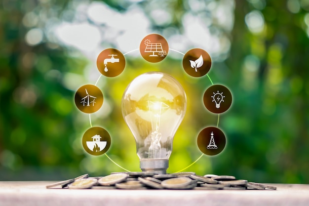 Lámpara de ahorro de energía brillante e icono de energía en la moneda