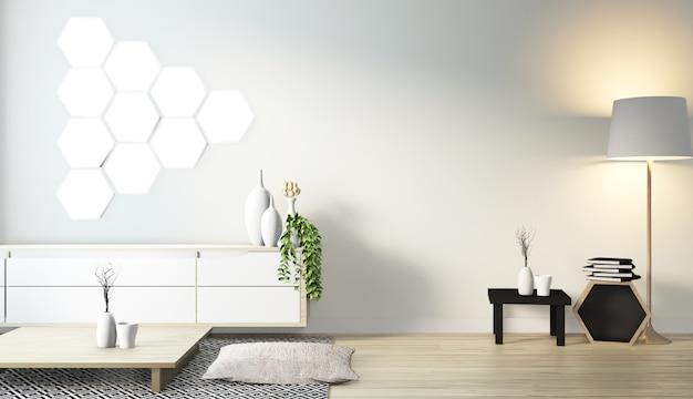 Lámpara de azulejos hexagonales en la pared y gabinete de madera de diseño minimalista en la moderna sala zen estilo japonés