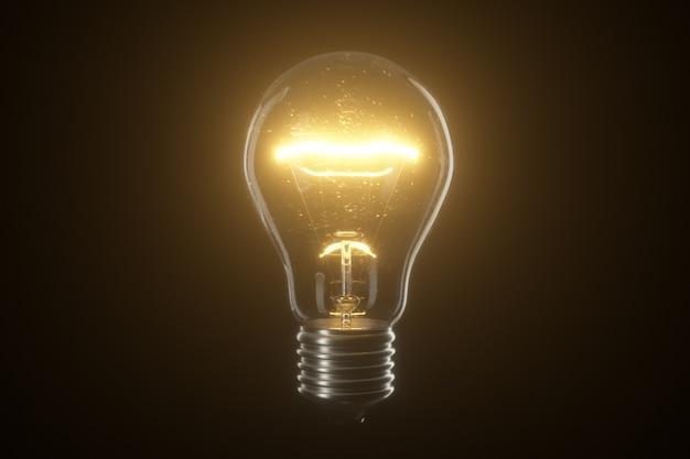 Lámpara bombilla sobre fondo negro aislado