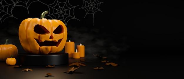 Lámpara de calabaza de miedo velas y decoraciones de araña en concepto de halloween sobre fondo negro representación 3d Foto Premium