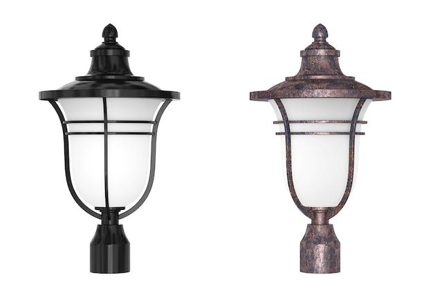 Lámpara de la columna de la calle de la linterna sobre un fondo blanco. representación 3d