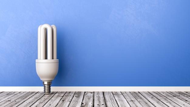Lámpara fluorescente sobre piso de madera