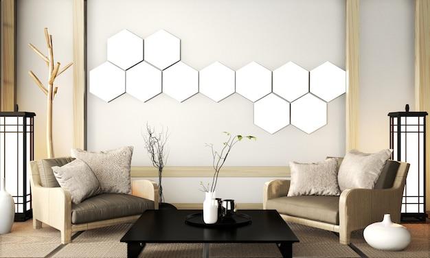 Lámpara hexagonal en la pared de la sala zen de estilo muy japonés con sillón y mesa baja en suelo de tatami. renderizado 3d