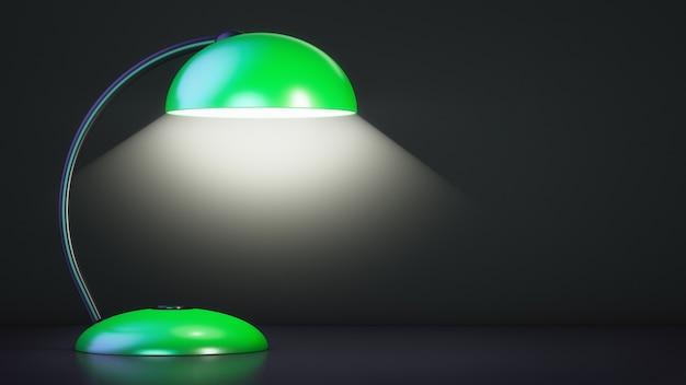La lámpara de mesa está encendida. fondo oscuro. copie el espacio.