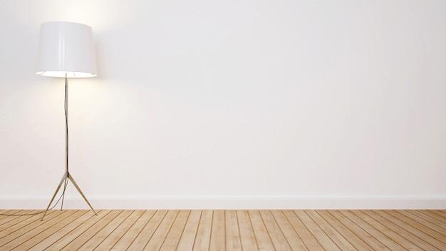Lámpara de pie en la sala vacía para obras de arte - representación 3d