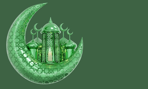 Lámpara de ramadán con rosario islámico sobre fondo oscuro