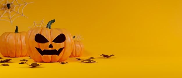 Lámparas de calabaza de decoración de halloween decoradas sobre fondo amarillo representación 3d ilustración 3d