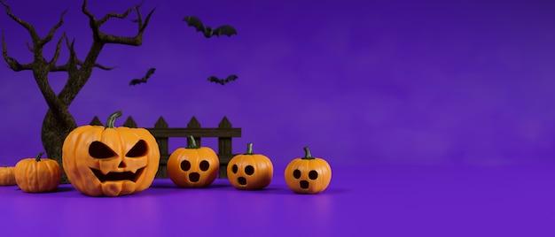 Lámparas de calabaza de decoración de halloween decoradas sobre fondo púrpura con representación 3d de árbol seco