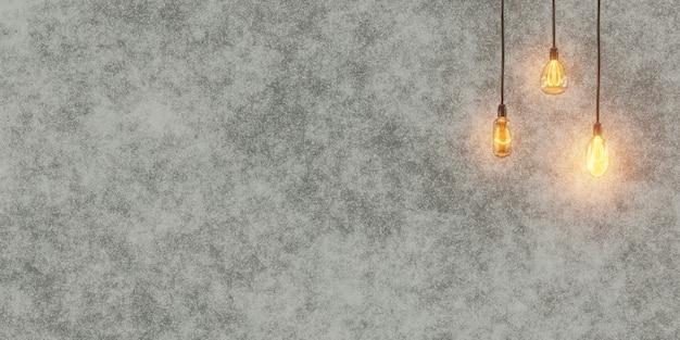 Lámparas vintage en el fondo de un muro de hormigón. interior en estilo loft. representación 3d