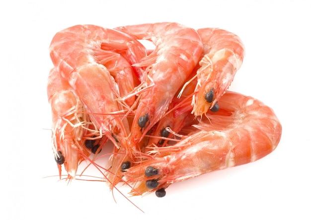 Langostinos cocidos o camarones tigre en plato blanco
