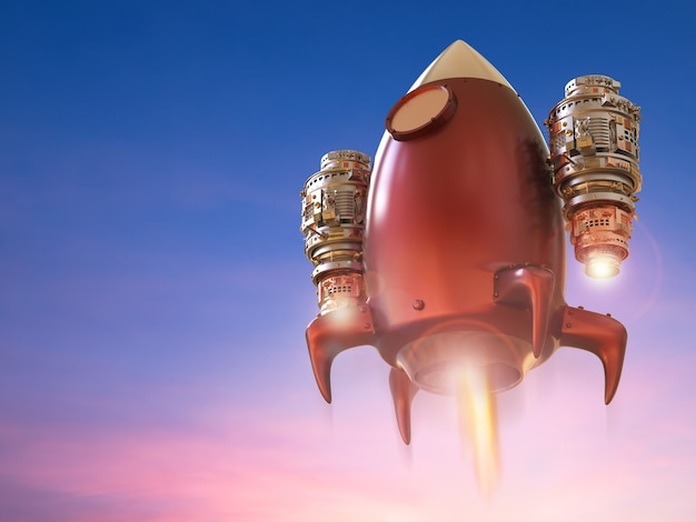 Lanzamiento del transbordador espacial de renderizado 3d