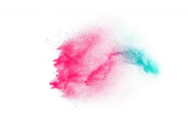 Lanzó la explosión de polvo de color en el fondo.