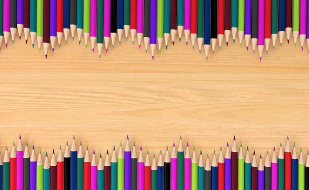 Lápices de colores sobre tabla de madera, representación 3d