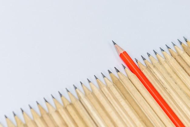 Lápices diferentes muestran liderazgo.