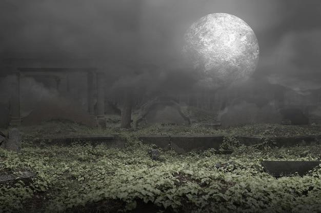 Lápidas en el cementerio con fondo de luna llena. concepto de halloween