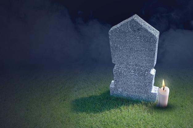 Lápidas con velas en el cementerio. concepto de halloween
