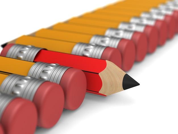 Lápiz de madera rojo único con goma de borrar que se destaca entre la multitud naranja sobre blanco.