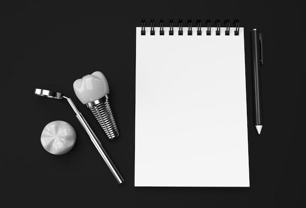 Lápiz de renderizado 3d y bloc de notas con cirugía de implantes dentales sobre fondo negro pastel.