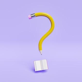 Lápiz de signo de interrogación con libro abierto en la pared de color púrpura pastel. escena mínima, concepto de educación, curiosidad, ideas. render 3d