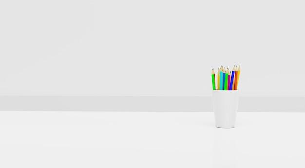 Lápiz a todo color en taza de cerámica blanca con sala limpia, representación de ilustración 3d